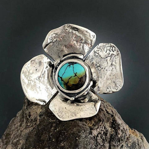 Sterling Silver Large Dogwood Flower with Veined Turquoise Ring - Size 7 3/4