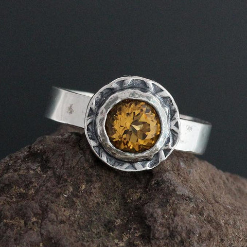 Sterling Silver and Faceted Citrine Ring - Size 10