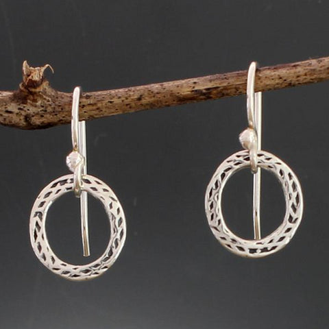 Sterling Silver Small Stamped Hoop Earrings