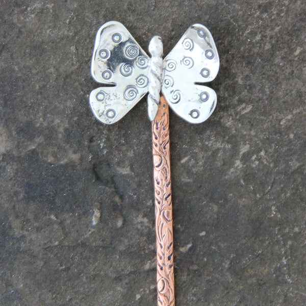 Sterling Silver & Copper Butterfly Hair Stick