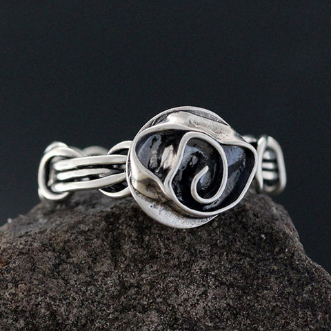 Sterling Silver Light Wrapped Vine Ring with Rose