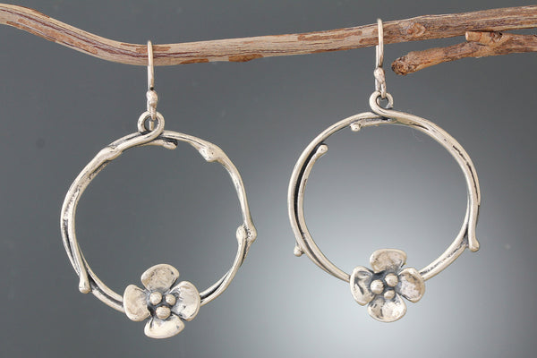 Sterling Silver Dogwood Flower Vine Hoop Earrings