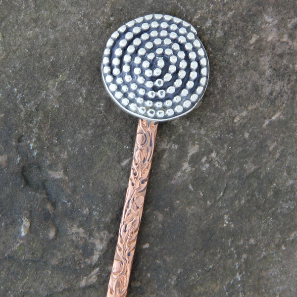 Copper & Sterling Silver Beaded Spiral Hair Stick