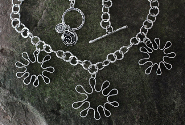 Sterling Silver Triple Mod Flower Necklace