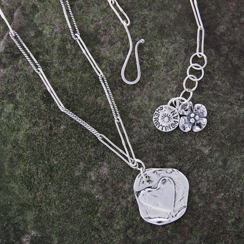 Sterling Silver Dual Sided Star and Heart Necklace