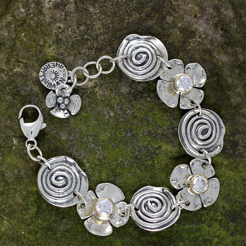 Sterling Silver Spiral and Dogwood Flower with CZ's in Gold Bezel Bracelet