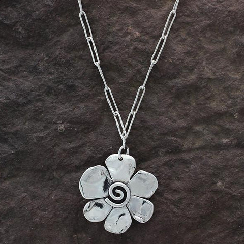 Sterling Silver Dual Sided Flower Necklace