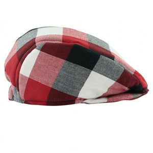 Baby Boy Red, White & Black Plaid Drivers Cap Baby Products Karina Baby Boutique