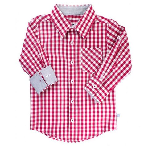 Boys Mulberry Gingham Button Down Shirt Boys Clothes Karina Baby Boutique