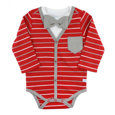 Boys Red Stripe Cardigan Bodysuit Baby Products Karina Baby Boutique