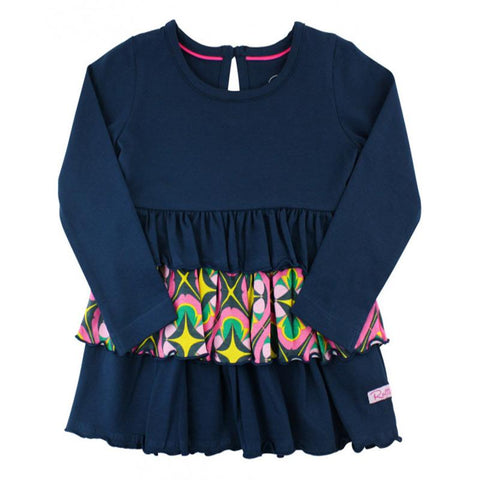 Little Girls Navy Day at The Park Long Sleeve Knit Top w/Ruffles Girls Clothes Karina Baby Boutique