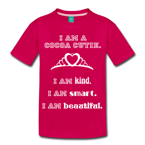 I Am A Cocoa Cutie Kid's Premium Cotton Tee(Princess) - dark pink