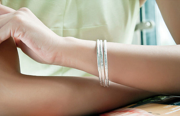 925 Sterling Silver Bohemian Carved Bangle