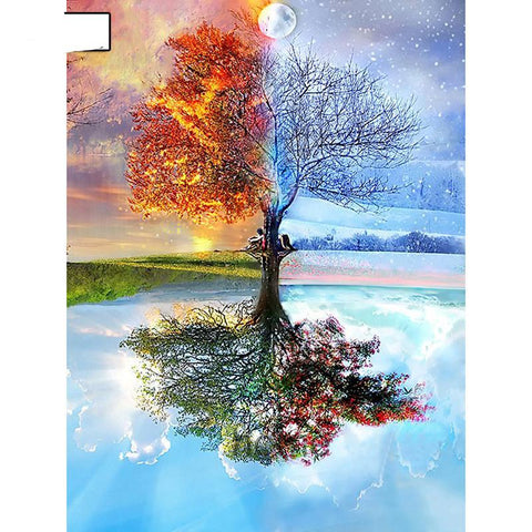 5D Diamond Seasons Tree Cross Stitch Diamond Embroidery Full Kit