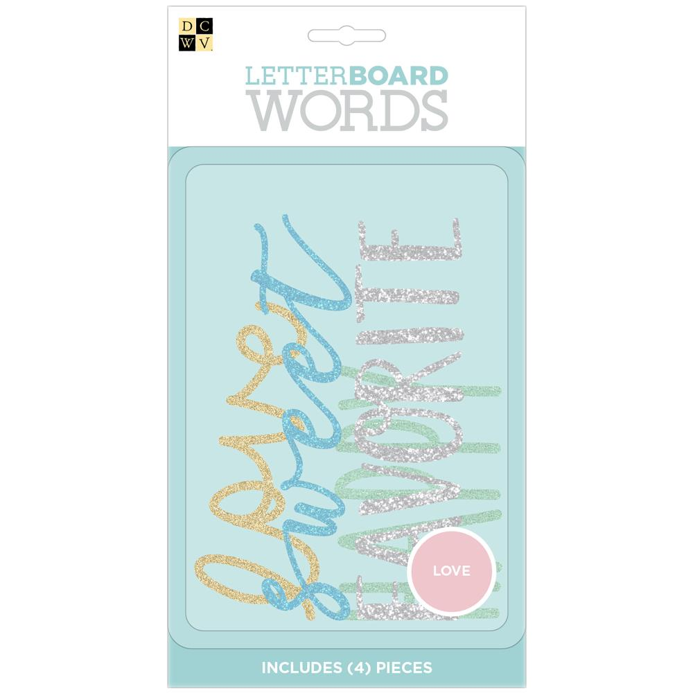 DCWV Letterboard Words 4 pack Love, Glitter