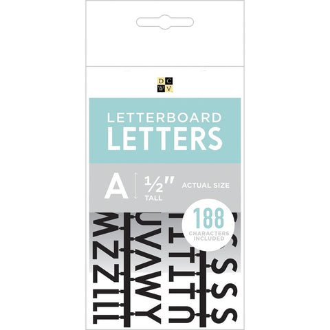 DCWV Letterboard Letters & Characters 1/2 inch 188 pack Black