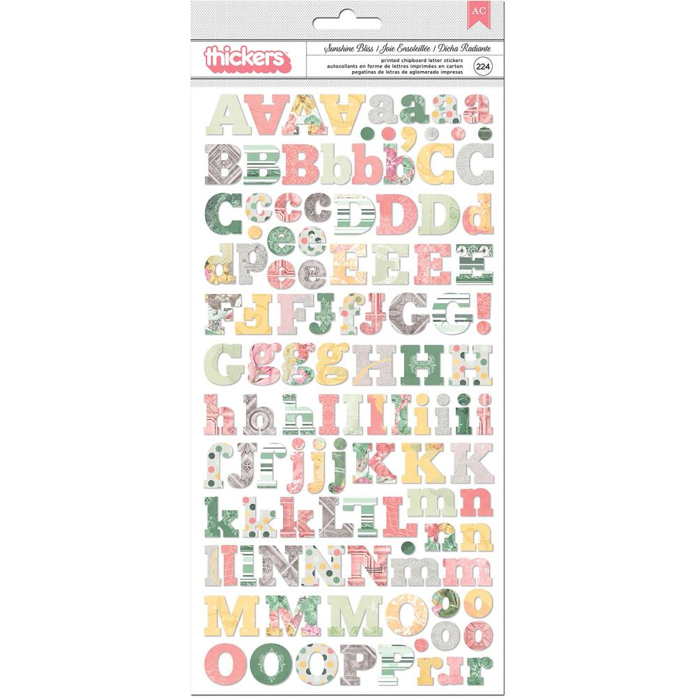 Bo Bunny Sunshine Bliss Thickers Stickers 5.5 inch X11 inch 2 pack Alphabet/Multi Chipboard
