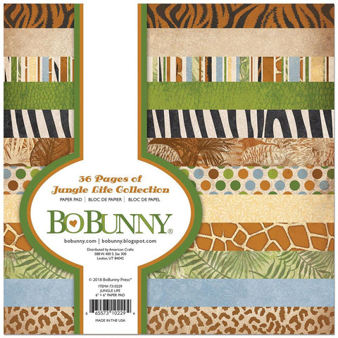 Bo Bunny Single-Sided Paper Pad 6 inch X6 inch 36 pack Jungle Life, 12 Designs/3 Each