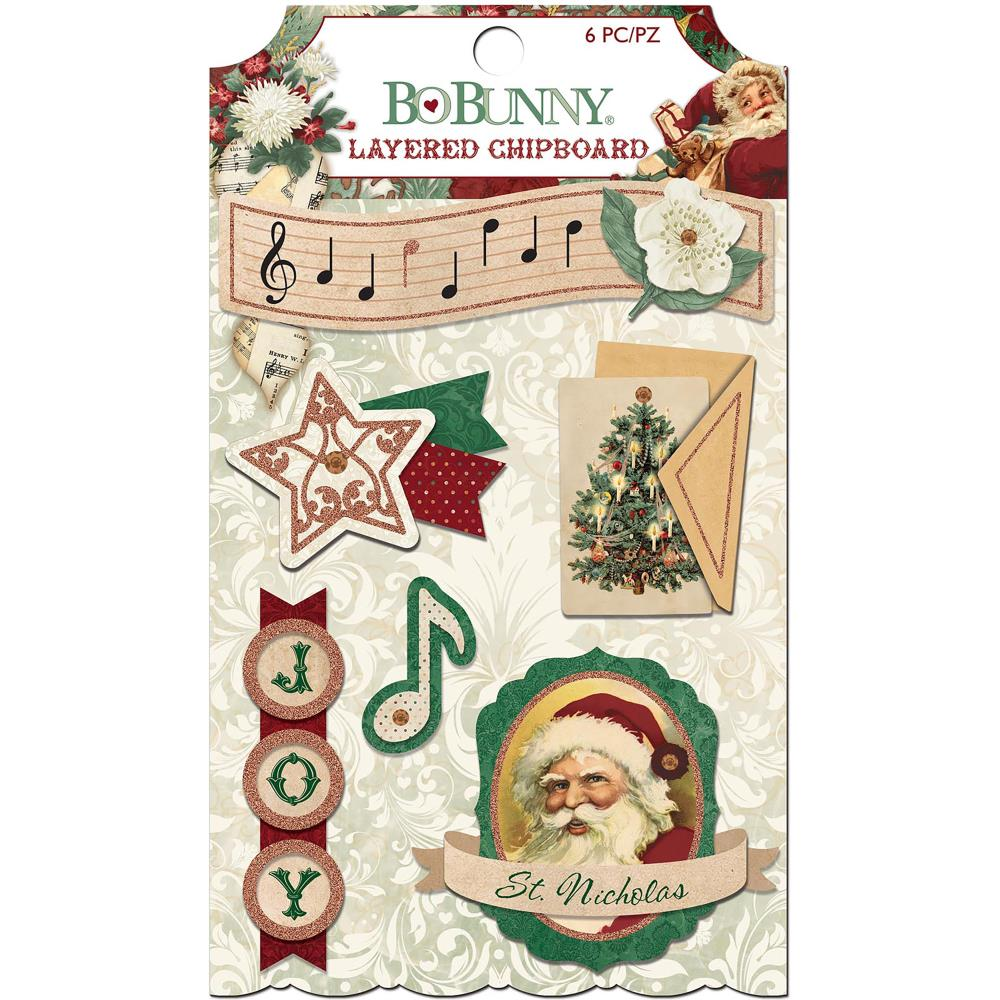 Bo Bunny Yuletide Carol Adhesive Layered Chipboard