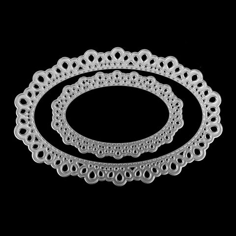 Poppy Crafts Dies - Lace Oval Nested Die Design - 2 Nested Dies