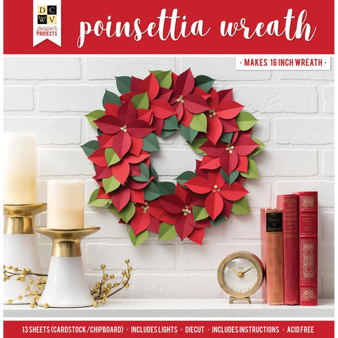 DCWV Paper Projects Poinsettia Wreath - Makes 16 inch Wreath