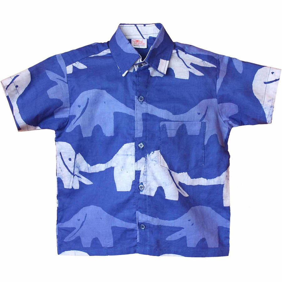 Boys Button Down Shirt - Blueberry Elephant - Global Mamas (Fair Trade)