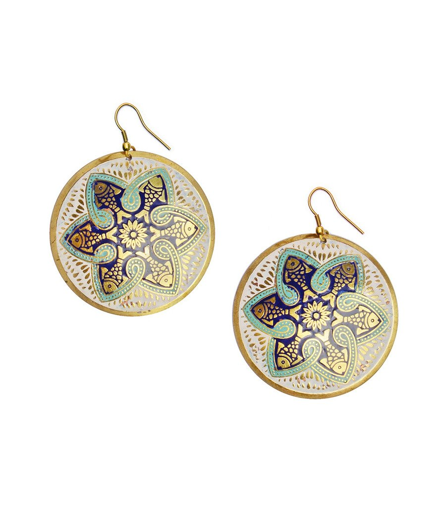Tzolkin Earrings - Navy - Matr Boomie (Fair Trade)