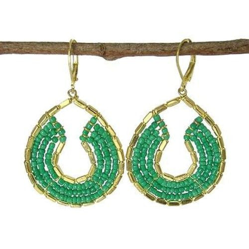 Byzantine Earrings in Teal and Gold Handmade and Fair Trade