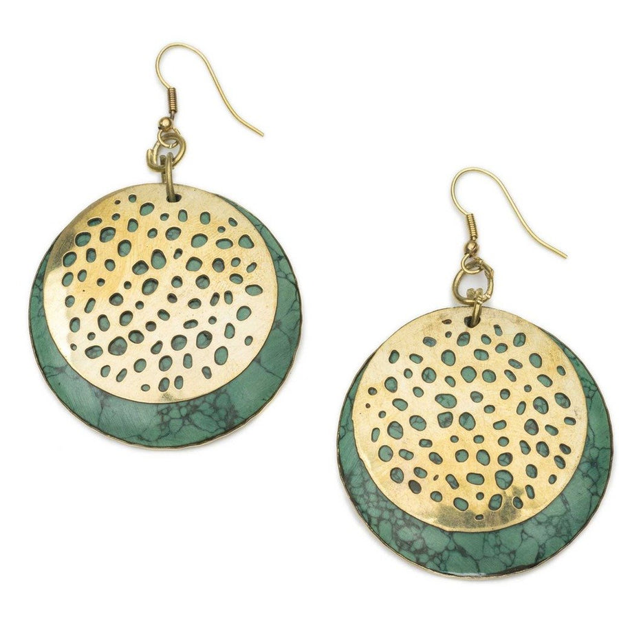 Tara Stone Medallion Earrings - Green - Matr Boomie (Fair Trade)
