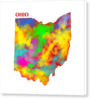 Ohio, Usa, Map, Artist Singh, - Canvas Print