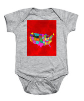 Citizenship, Us Map, Red, Artist Singh - Baby Onesie