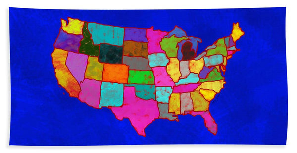 Citizenship, Us Map, Blue, Artist Singh - Bath Towel