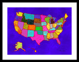 Citizenship, Us Map, Blue, Artist Singh - Framed Print