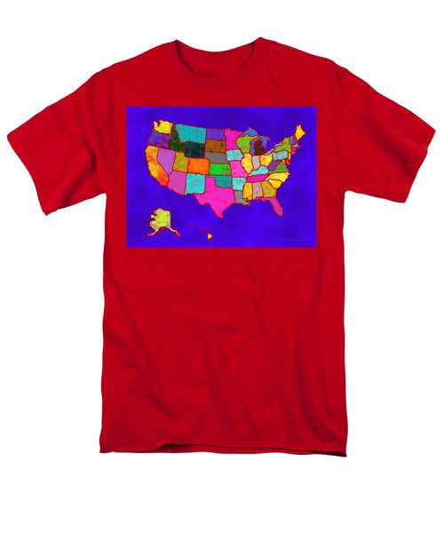 Citizenship, Us Map, Blue, Artist Singh - Men's T-Shirt  (Regular Fit)