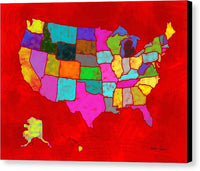 Citizenship, Us Map, Red, Artist Singh - Canvas Print