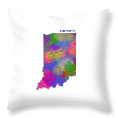 Indiana, Usa, Map, Artist Singh - Throw Pillow
