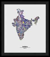 Map Of India, Drip Art, Artist Singh - Framed Print