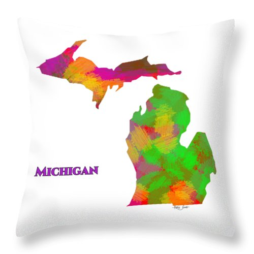 Michigan- Usa Map By Artist Singh - Throw Pillow