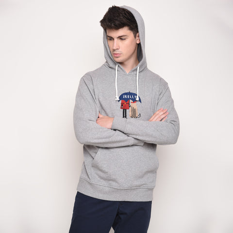 Umbrella Guard Hoodie in Misty Grey - Skellyshop Singapore | Skelly Original Sweatshirts | skellyshop.co.uk