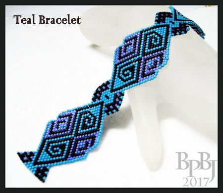 Bead Pattern - Teal Bracelet - Brick Stitch