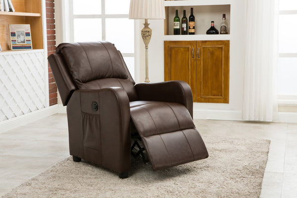 Hitchcock PU Power Recliner Espresso - Furnlander