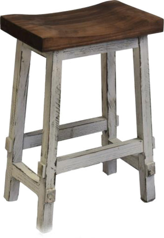 "Rustic Antique White Saddle Stool; 24""H"