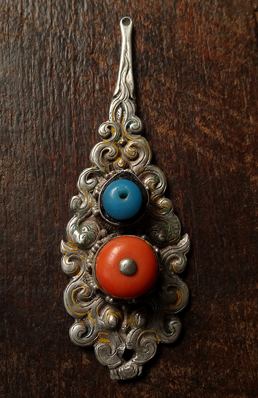 Antique Tibetan Silver & Coral Ear Spoon