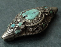 Antique Tibetan Silver Hair Ornament or Pendant - 19th C