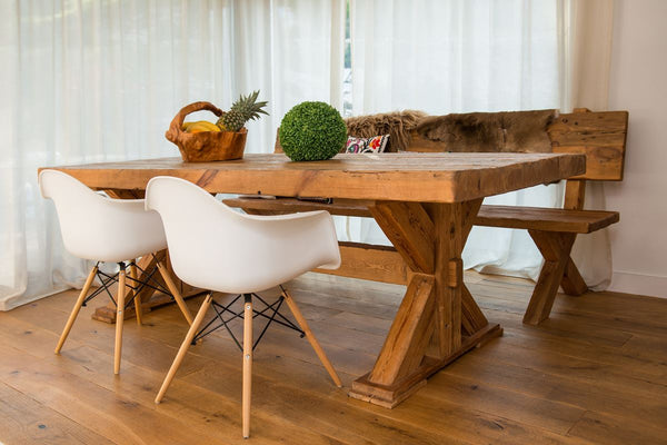 Wooden table made of old wood .No.RE 238