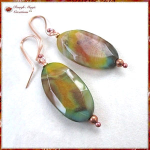 Large Gemstone Earrings with Bright and Colorful Agate Faceted Oval Dangles and hand forged copper