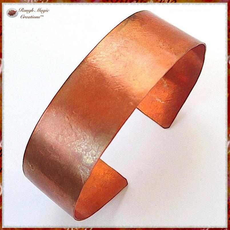 Rustic Hammered Copper Cuff Bracelets for Women and Men for 7th Anniversary