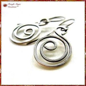 Hammered Sterling Silver Swirling Spiral Dangle Earrings with Antique Patina