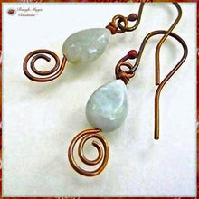 Load image into Gallery viewer, Light Green Aquamarine Gemstone Earrings with Copper Swirl Dangles