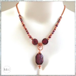 Boho Glam necklace with magenta stone pendant, solid copper, real pearls, elegant jewelry handmade by Mollie Meserve for Rough Magic Creations.